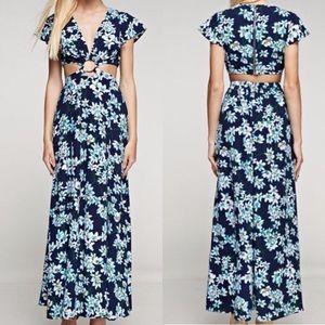 Dresses & Skirts - Floral Cutout Dual Slit Maxi Dress Size Small